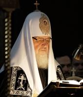 В канун Великого вторника Святейший Патриарх Кирилл молился за вечерним богослужением в Иоанно-Предтеченском ставропигиальном женском монастыре Москвы