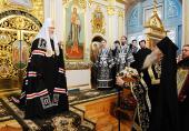 Святейший Патриарх Кирилл молился за утреней Великой среды в Заиконоспасском ставропигиальном мужском монастыре