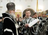 В Великий вторник Святейший Патриарх Кирилл совершил Литургию Преждеосвященных Даров в Зачатьевском монастыре