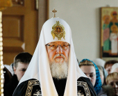 Святейший Патриарх Кирилл молился за утреней Великого четверга в Крестовоздвиженском Иерусалимском ставропигиальном монастыре