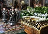 Святейший Патриарх Кирилл совершил вечерню Великой пятницы в Храме Христа Спасителя