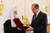 Предстоятель Русской Церкви посетил Пасхальный прием в Министерстве иностранных дел России