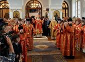 В неделю 6-ю по Пасхе, о слепом, Святейший Патриарх Кирилл возглавил служение Божественной литургии в воссозданном храме Санкт-Петербургской духовной академии