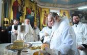 В неделю 7-ю по Пасхе Святейший Патриарх Кирилл совершил Божественную литургию в Успенском храме Новороссийска