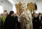 В канун дня памяти преподобных Сергия и Германа Валаамских Святейший Патриарх Кирилл совершил всенощное бдение в нижнем храме Спасо-Преображенского собора Валаамского монастыря