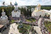 В день памяти прп. Сергия Радонежского Святейший Патриарх Кирилл возглавил Божественную литургию в Успенском соборе Троице-Сергиевой лавры