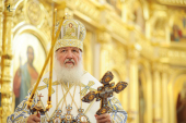 Святейший Патриарх Кирилл совершил чин великого освящения храма в честь Казанской иконы Божией Матери г. Саранска и Божественную литургию в новоосвященном храме