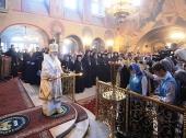 Предстоятель Русской Церкви совершил Божественную литургию в соборе во имя Святых отцов семи Вселенских Соборов Данилова монастыря
