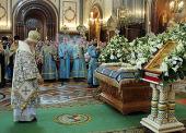 В канун праздника Успения Пресвятой Богородицы Святейший Патриарх Кирилл совершил всенощное бдение в кафедральном соборном Храме Христа Спасителя