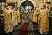 В день памяти святителя Петра, митрополита Московского, Предстоятель Русской Церкви совершил Божественную литургию в Успенском соборе Московского Кремля