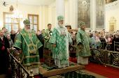 В день памяти св. блгв. кн. Даниила Московского Предстоятель Русской Церкви совершил Божественную литургию в Троицком соборе Свято-Данилова монастыря