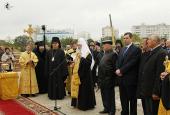 Святейший Патриарх Кирилл совершил освящение закладного камня в основание модульного храма в Южном Бутове
