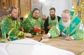 Предстоятель Русской Церкви совершил освящение Свято-Троицкого собора Вознесенского Банченского монастыря и Божественную литургию в новоосвященном храме