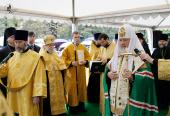 Святейший Патриарх Кирилл совершил освящение закладного камня в основание модульного храма в московском районе Вешняки