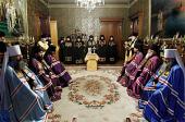 Состоялось наречение архимандрита Феофана (Кима) во епископа Кызыльского, архимандрита Гурия (Федорова) во епископа Арсеньевского и архимандрита Иринея (Тафуни) во епископа Орского