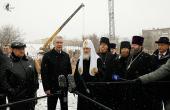 Святейший Патриарх Кирилл и мэр Москвы С.С. Собянин ознакомились с ходом строительства храма памяти жертв теракта на Дубровке