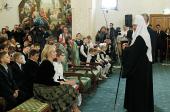 Святейший Патриарх Кирилл и мэр Москвы С.С. Собянин вручили подарки детям с нарушениями зрения