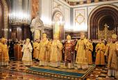 В канун празднования 65-летия Предстоятеля Русской Церкви в Храме Христа Спасителя совершено всенощное бдение