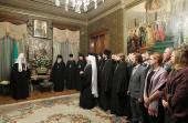 Сотрудники Московской Патриархии поздравили Святейшего Патриарха Кирилла с 65-летием со дня рождения