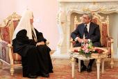Состоялась встреча Святейшего Патриарха Кирилла с Президентом Армении Сержем Саргсяном