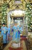 Патриаршее служение в Большом соборе Донского монастыря в праздник Введения во храм Пресвятой Богородицы. Хиротония архимандрита Феодосия (Гажу) во епископа Бишкекского