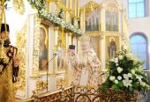 В неделю 27-ю по Пятидесятнице Святейший Патриарх Кирилл совершил Литургию в Богоявленском соборе г. Ногинска и возглавил хиротонию архимандрита Максимилиана (Клюева) во епископа Братского