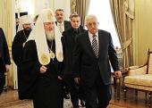 Святейший Патриарх Кирилл встретился с Главой Палестинской национальной администрации Махмудом Аббасом