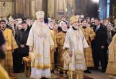 Святейший Патриарх Кирилл совершил Божественную литургию в храме прп. Пимена Великого в Новых Воротниках и возглавил хиротонию архимандрита Ефрема (Просянка) во епископа Бикинского
