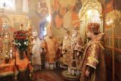 В неделю о мытаре и фарисее Святейший Патриарх Кирилл совершил Божественную литургию в храме Спаса Преображения на Песках и возглавил хиротонию архимандрита Ефрема (Барбинягры) во епископа Боровичского и Пестовского