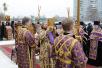 Освящение закладного камня в основание строящегося храма в честь святителя Ермогена в Москве