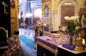 В среду 3-й седмицы Великого поста Предстоятель Русской Церкви совершил Литургию Преждеосвященных Даров в Храме Христа Спасителя