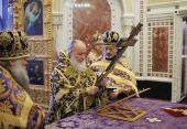 В канун Крестопоклонной недели Предстоятель Русской Церкви совершил всенощное бдение в Храме Христа Спасителя