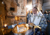 В праздник Благовещения Пресвятой Богородицы Святейший Патриарх Кирилл совершил Божественную литургию в Благовещенском соборе Кремля