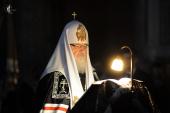 В канун Великого вторника Святейший Патриарх Кирилл совершил утреню в Иоанно-Предтеченском ставропигиальном монастыре