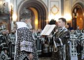 В Великую среду Предстоятель Русской Церкви совершил Литургию Преждеосвященных Даров в Храме Христа Спасителя