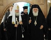 Состоялась встреча Святейшего Патриарха Кирилла с Блаженнейшим Архиепископом Афинским и всей Эллады Иеронимом