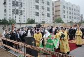 Предстоятель Русской Церкви совершил освящение закладного камня на месте строительства храма в честь св. Александра Невского в Зеленограде