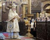В день памяти святителя Ионы, митрополита Московского, Предстоятель Русской Церкви совершил Литургию в Успенском соборе Московского Кремля
