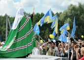 Святейший Патриарх Кирилл принял участие в открытии фестиваля «Славянское единство — 2012» на границе России, Белоруссии и Украины