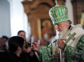 В канун дня памяти преподобных Сергия и Германа Валаамских Святейший Патриарх Кирилл совершил всенощное бдение в Спасо-Преображенском соборе Валаамской обители