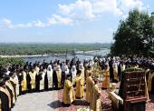 Святейший Патриарх Кирилл совершил молебен у памятника Крестителю Руси на Владимирской горке в Киеве