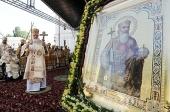 В день памяти святого равноапостольного князя Владимира Предстоятель Русской Церкви возглавил служение Божественной литургии в Киево-Печерской лавре