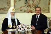 Святейший Патриарх Кирилл встретился с Президентом Республики Польша Брониславом Коморовским