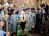 В праздник Успения Пресвятой Богородицы Предстоятель Русской Церкви возглавил служение Литургии в Успенском соборе Московского Кремля