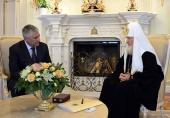 Святейший Патриарх Кирилл принял министра внутренних дел России В.А. Колокольцева