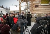 Жители Псковской области передали сруб для строящейся церкви в латвийском г. Балви