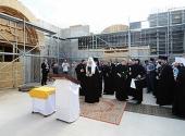 Святейший Патриарх ознакомился с ходом строительства в Нарве храма святых равноапостольных Кирилла и Мефодия