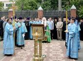 Святейший Патриарх Кирилл освятил закладной камень в основание храма, возводимого на территории Главного управления МВД по Центральному федеральному округу