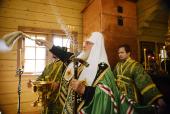Святейший Патриарх Кирилл совершил чин малого освящения храма преподобного Германа Аляскинского на острове Байонный