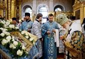 В канун праздника Казанской иконы Божией Матери Святейший Патриарх Кирилл совершил всенощное бдение в Богоявленском кафедральном соборе г. Москвы